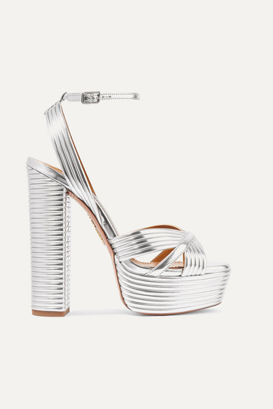 Aquazzura Sundance 150 Metallic Faux Leather Platform Sandals - Silver