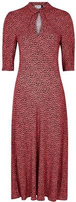 Rixo Isabella leaf-print midi dress