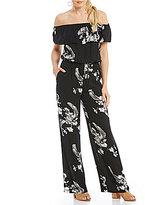 Chelsea & Violet Off-the-Shoulder Short Sleeve Printed Jumpsuit