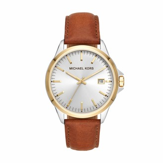Michael Kors Men's Penn Stainless Steel Quartz Watch with Leather Strap