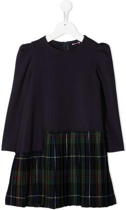 Il Gufo Checked Pleated Skirt Dress