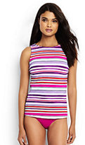 Classic Women's Mastectomy High-neck Tankini Top-Light Fuchsia Maui Stripe