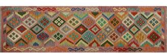 Millwood Pines Runner Gospel Geometric Handmade Kilim Wool Pink Area Rug