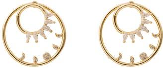 Wanderlust + Co Moon Phase Hoop Jacket Gold Earrings