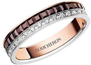 Boucheron Quatre Classique 18K White, Rose and Yellow Gold & Diamond Wedding Band