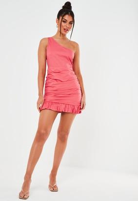 Missguided Petite Pink Poplin Ruched One Shoulder Mini Dress