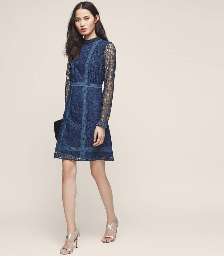 Reiss Abbey High-Neck Lace Dress