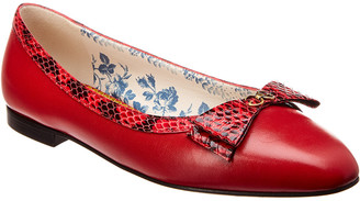 Gucci Yva Snakeskin Bow & Leather Flat