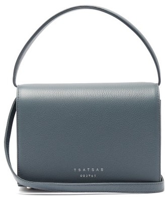 Tsatsas Malva 4 Grained-leather Cross-body Bag - Light Blue