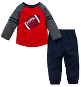 Little Me Baby Boys Two-Piece Baseball Printed Raglan Tee and Drawstring Pants Set