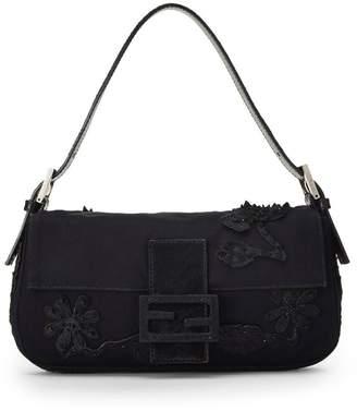 Fendi Black Floral Beaded Baguette Bag