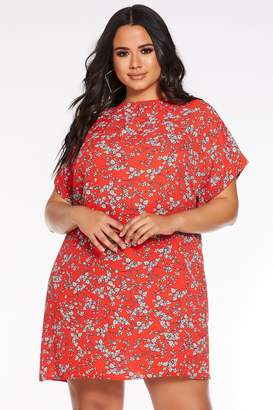 Quiz Curve Red and White Floral Print Tunic Dress