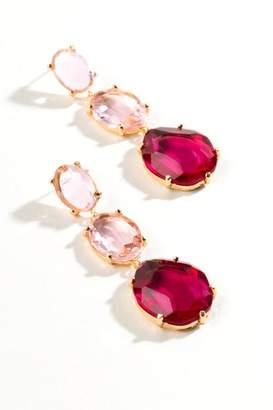 francesca's Aisha Stone Drop Earrings - Burgundy