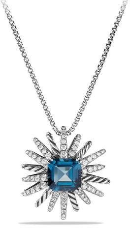 David Yurman 23mm Hampton Blue Topaz Starburst Pendant Necklace
