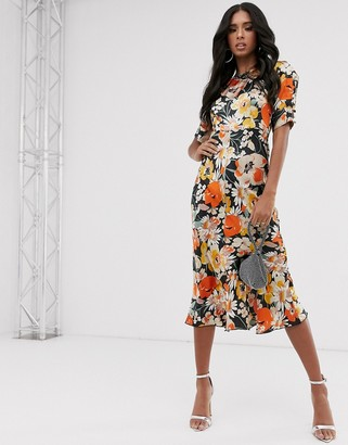 Asos DESIGN bias midi dress with puff sleeves in satin floral print