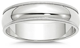 Bloomingdale's Men's 6mm Half Round Milgrain Band in 14K White Gold - 100% Exclusive