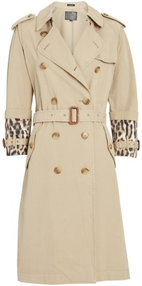 R 13 Leopard Cuff Double-Breasted Trench Coat