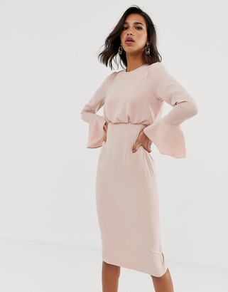 Asos Design DESIGN fluted sleeve midi pencil dress-Pink