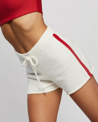 The Upside Women's White High-Waisted - NF Knitted Stripe Shorts - Size S at The Iconic