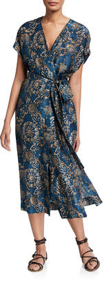 Brunello Cucinelli Printed Silk V-Neck Wrap Dress