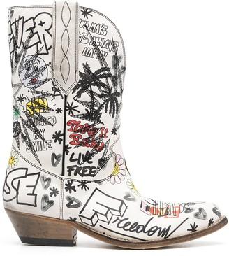 Golden Goose graffiti-print Western-style boots