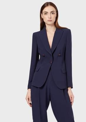 Giorgio Armani Silk-Cady, Single-Breasted Jacket With Ornamental Buttons