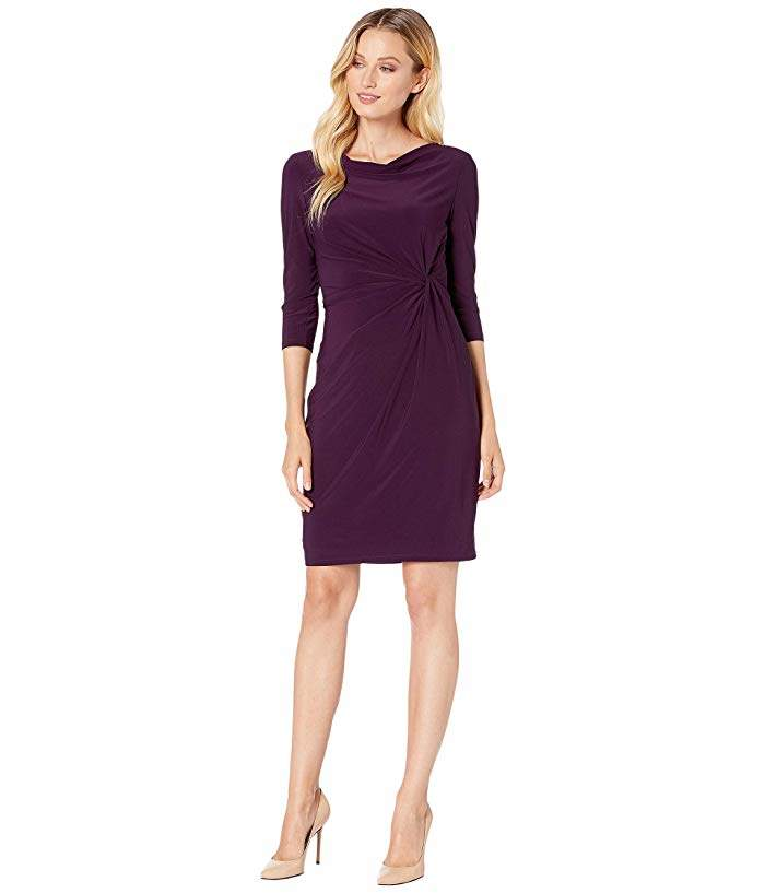 Lauren Ralph Lauren Mid Weight Matte Jersey Trava 3/4 Sleeve Day Dress