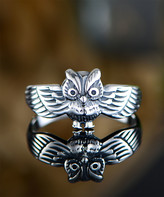 Ben Stacy Women's Rings Silver/White - Sterling Silver Vintage Owl Ring