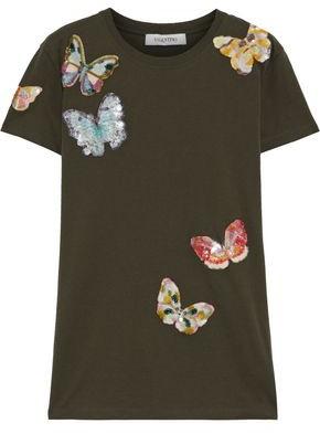 Valentino Embellished Cotton-jersey T-shirt