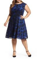 Tahari Plus Size Women's Sangria Burnout Velvet Fit & Flare Dress