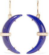 Andrea Fohrman Crescent Moon 18-karat Gold, Lapis Lazuli And Diamond Earrings - Blue