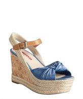 Prada Sport cobalt leather knotted cork and jute wedge sandals