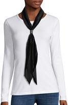 Asstd National Brand Crinkled Solid Satin Bolo Scarf