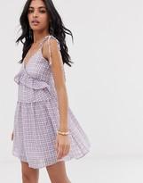 Lost Ink tie shoulder smock dress in gingham