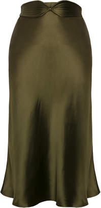 Anna October Aimee Belted Satin Midi Skirt