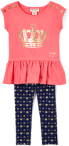 Juicy Couture Coral Crown Tunic & Navy Leggings - Girls