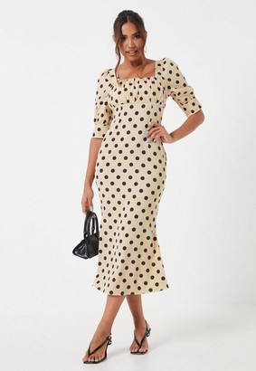 Missguided Cream Polka Dot Ruched Bust Midaxi Dress