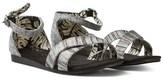 Toms Black Slubby Buckled Sandals