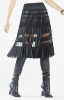 BCBGMAXAZRIA Taura Striped Faux-Leather Pleated Skirt