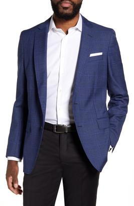 BOSS Bolder Trim Fit Windowpane Wool Sport Coat