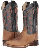 Old West Kids Boots Broad Square Toe (Toddler/Little Kid) (Tan Fry 2) Cowboy Boots