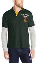 U.S. Polo Assn. Men's Long Sleeve Slim Fit Polo Shirt and Thermal Hang Down