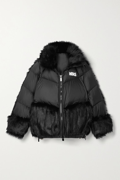 Nike + Sacai Nrg Oversized Hooded Faux Fur And Quilted Shell Down Jacket - Black