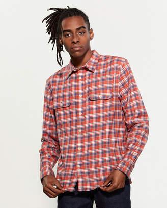 Lucky Brand Orange Plaid Sport Shirt