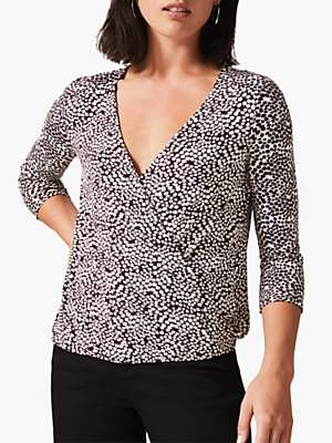Phase Eight Ebony Ditsy Printed Wrap Top, Berry/Ivory