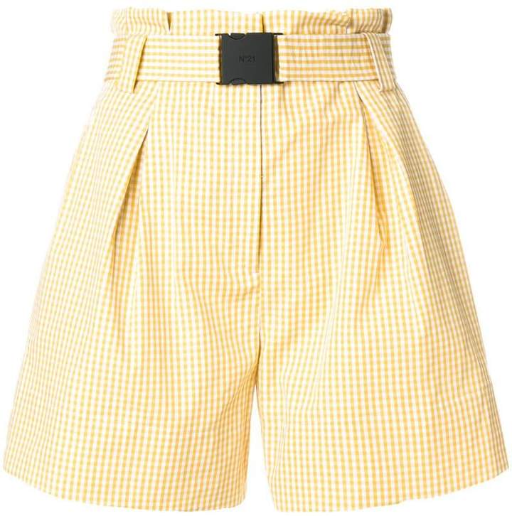 No.21 paperbag waist gingham shorts