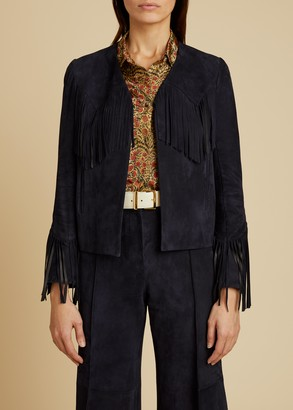 KHAITE The Gracie Jacket in Navy Suede