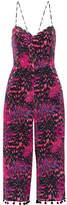 Matthew Williamson Pompom-trimmed Printed Silk Crepe De Chine Jumpsuit - Magenta