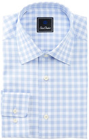David Donahue Long Sleeve Regular Fit Check Dress Shirt