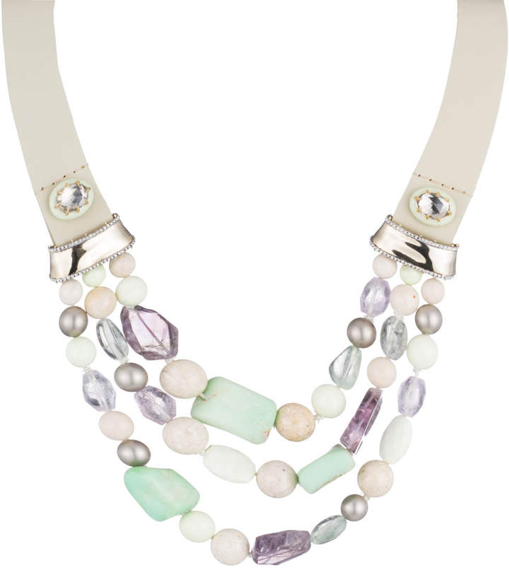 Alexis Bittar Beaded Triple Strand Leather Bib Necklace